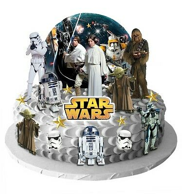 25 Edible Star Wars Scene Standup Wafer Card Cake Toppers Yoda ChewBacca Leia 01