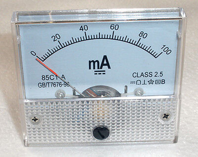 DC 100mA Ampmeter Analog Current Panel Meter Ammeter 0-100mA
