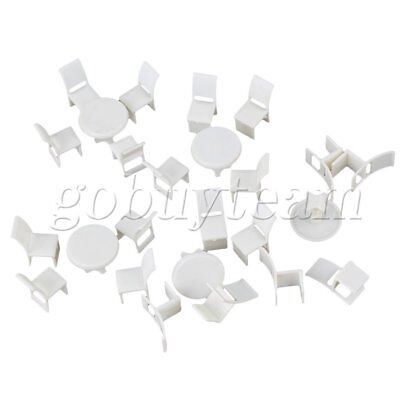 White 1:50 Dollhouse Miniature Furniture Round Dining Room 5 Tables 20 Chairs