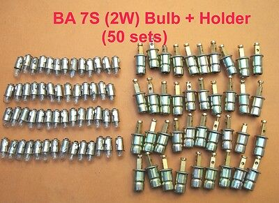 Ba 7s Bulb + Holders (50 sets ) for vintage car,tractors,speedos, instrumements