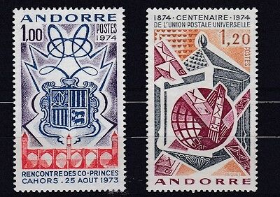 French Andorra 1974 Sg F258 + F261 Cahors Meeting + Cent Upu     M / N / H