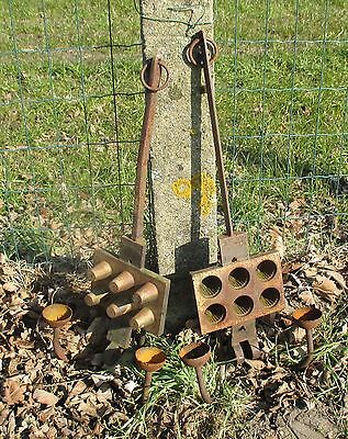 Antique Pair Cast Iron Waffle Iron Turned into Two-Arm Wall Sconces Steampunk