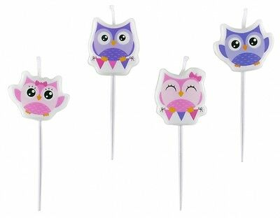 4 Owl Mini Figure Candles Pink And Purple Owl Shaped Birthday Party - 998355