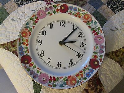Kalocsa Floral Porcelain Wall Clock Hand Painted & Numbered
