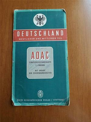 Deutschland West Germany And Middle Part Geographical Map Vintage 1954