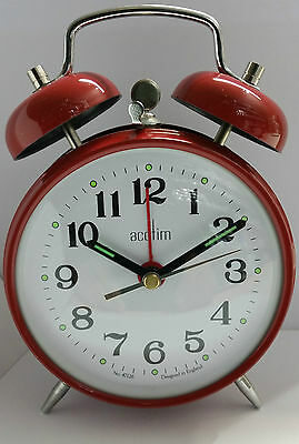 Acctim Selworth Keywound Wind Up Double Bell Alarm Clock Bedside Red 15274 New