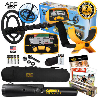 Garrett ACE 200 Metal Detector with Waterproof Coil Pro Pointer II and Carry Bag