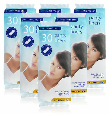 6x Pretty Intimate 30 PANTYLINERS LADIES Normal Liners Clean Dry Protection