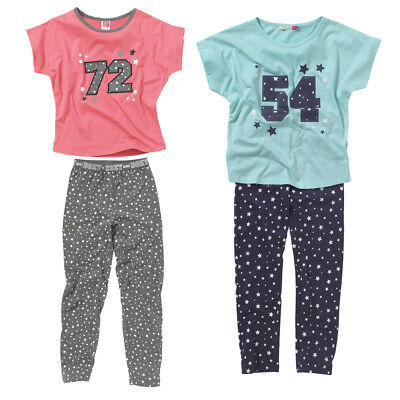 Cozy n Dozy Girls 72 54 College Slouchy Tee and Leggings Pyjama Set Blue Grey