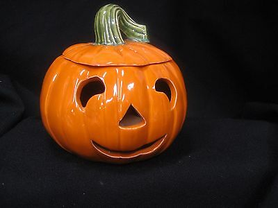 """ceramic jack o lantern carved pumpkin with cover candle lite 5"""" tall"""