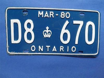 Ontario License Plate 1980 March  D8 670 Man Cave Sign Decoration