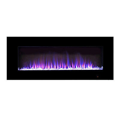 Pacific Heat 42 inch Streamline Flat Wall Mount Electric Fireplace - Black