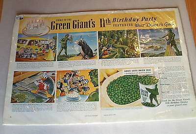 Green Giant's 11th Birthday Party - Featuring Walt Disney Gang, 1941 Ad