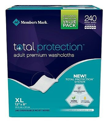 Simply Right Member's Mark Adult Washcloth Disposable Moist Wipes 240 Pack