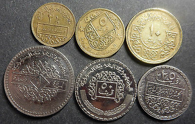 Syria Complete set of 6 coins 1973 1974 AH 1393-1394  Rare as a set! 1-yr-type