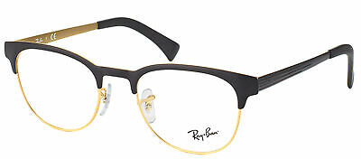 Ray Ban Eyeglasses RX6317 2833 Black And Matte Gold Round Metal Clubmaster 51mm