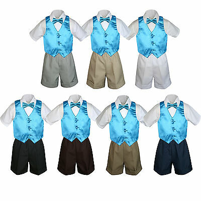 4pc Baby Boys Toddler Formal Turquoise Vest Bow tie Black Khaki Shorts Set Sm-4T