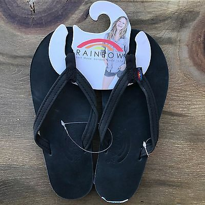 Women Rainbow Sandals Thin Strap Black Premier Leather Single Layer