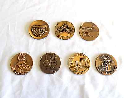 State of Israel Commemorative Mixed 7 Medallion 45mm Bronze Coin Set