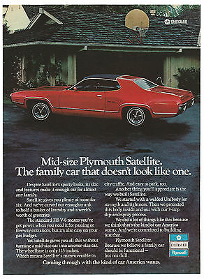 Vintage 1972 Plymouth Satellite Print Ad Muscle Car