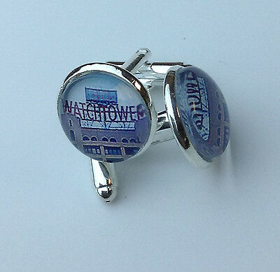Red Watchtower Sign Glass Cufflinks JW.ORG