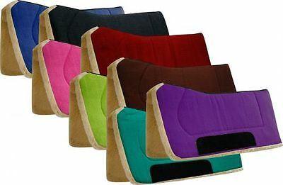 "Showman 32"" x 32"" Contoured Kodel Fleece Bottom & Suede Wear Leather Saddle Pad"