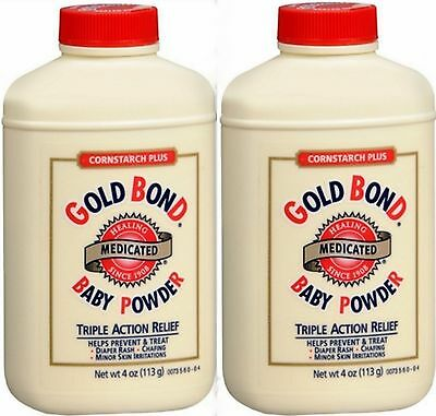 Gold Bond Baby Powder Cornstarch Plus Medicated 4oz ( 2 pack ) white ****