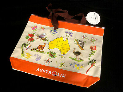 2 Australian Souvenir Shopping Carrying Tote Travel Bag With Zip 45x36cm Large