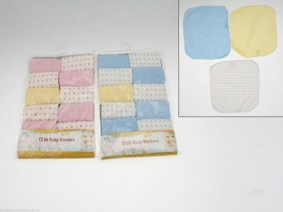 48 x 12 pk Baby Face Washer flannel 23cm x 23cm bulk wholesale lot reduced to cl