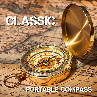 Pocket Brass Watch Style Luminous Compass for Navigation Camping Hiking Outdoor