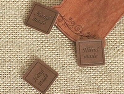 3 x Square HAND MADE Leather label / Craft label / Sew on leather label (La414)