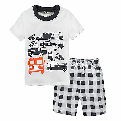Boys Kids Baby Summer Outfits Short Sleeve T-shirt Tops+Check Shorts Clothes Set