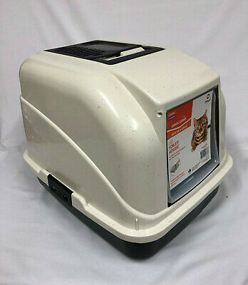 Portable Cat Toilet Training House Hooded Litter Tray Box w Door Handle & Scoop