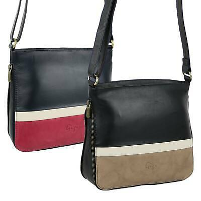 NEW Ladies Soft LEATHER Slim Expandable Two-Tone Cross Body Bag by GiGi Handbag