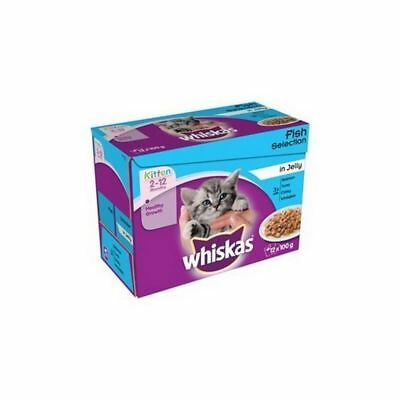 WHISKAS 2-12 Months Kitten Food Pouches Fish Selection in Jelly 12 x 100g
