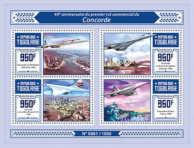 Togo 2016 MNH Concorde First Commercial Flight Anniv 4v M/S Eiffel Tower Stamps
