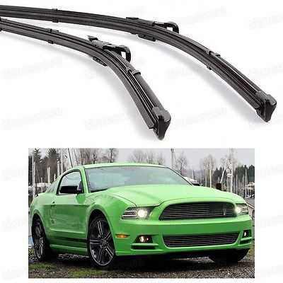 2Pcs Car Front Windshield Wiper Blade Bracketless for Ford Mustang 2010-2016