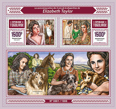 Togo 2016 MNH Liz Elizabeth Taylor 2v S/S Richard Burton Movie Stars Stamps