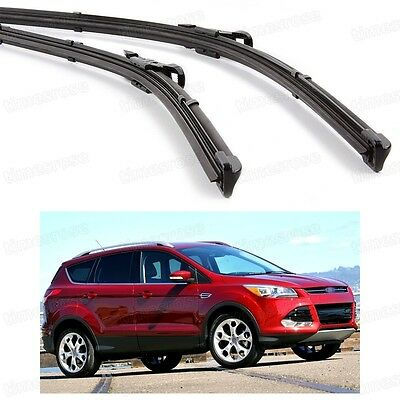 2Pcs Car Front Windshield Wiper Blade Bracketless for Ford Kuga Escape 2013-2015