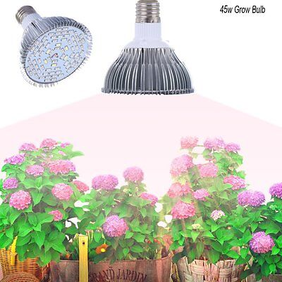 E27 45W LED Grow Light Full Spectrum Lamp Bulbs for Veg Plants Hydroponic Bloom