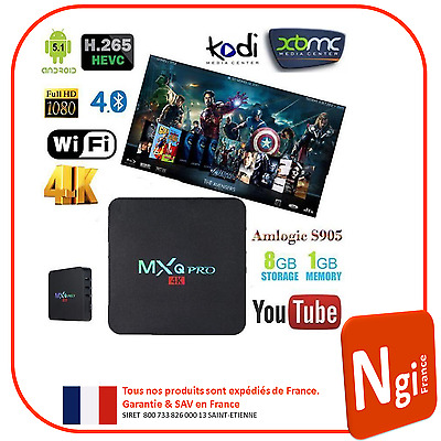 NGI®-MXQ Pro Smart TV Box Android 5.1 ( Amlogic S905 Quad Core ) UHD 4K 1G/8G