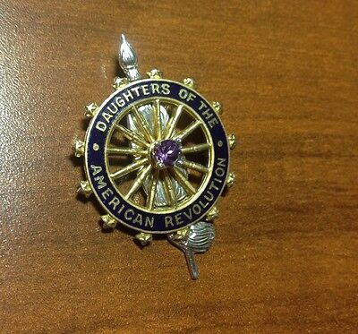 Birthstone DAR Insignia gold filled Daughters of the American Revolution Pin