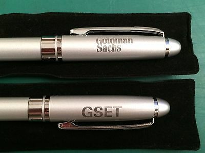 """(2) GOLDMAN SACHS """"GSET"""" PENS """"New in Pen Bags"""" Made by Leeds """"NEW, NEVER USED"""""""