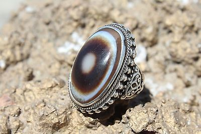 Old Collectable Vintage Tibet Dzi Eye Bead Antique Gift Silver Ring Size 9 US