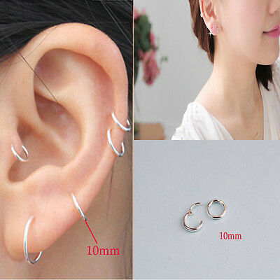 Womens Fashion Jewelry 925 sterling silver Round Hoop Dangle Earrings Studs g