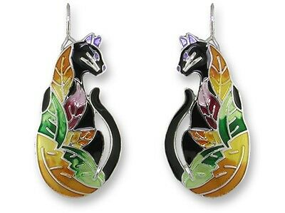 "Art Deco Cat Earrings, Zarah ""Time To Leave"", Silver Plated, Hand Painted Enamel"