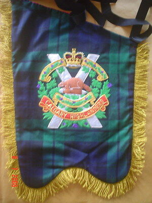 Special  Offer  Bagpipe  Banner  Hand Embroidered With Band Badge On Both Sides.