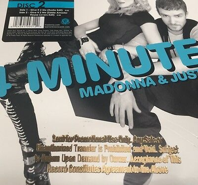 "Madonna & Justin - 4 Minutes+Give It 2 Me 2x 7"" WHITe - PROMO USA - SEALED  MINT"