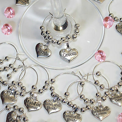 Personalised Heart Wedding Table Decorations Champagne Wine Glass Charms Favours