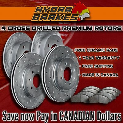 FITS 2011 FORD CROWN VICTORIA Drilled Brake Rotors CERAMIC PADS